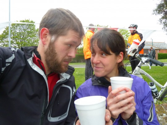 Tom and Bryony having a tea break