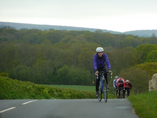 Bryony cycling Rolls Hill