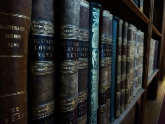 Illustrated London News books on a shelf