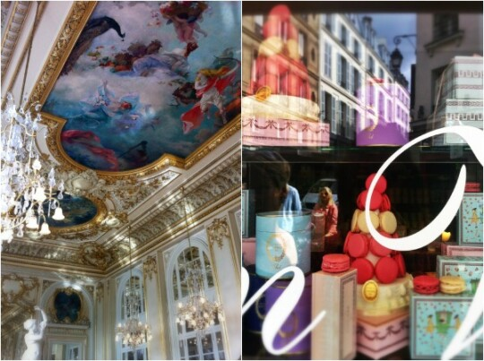 Paris collage of d'orsay tea and lauduree macarons