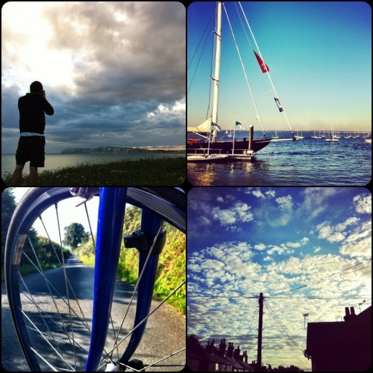 view from compton cliff, sailboat in cowes, pinarello front wheel, view down albert street