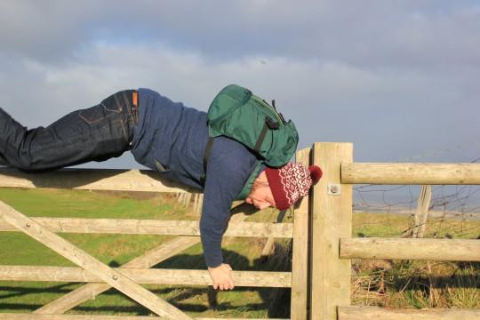 Tom hopping a gate