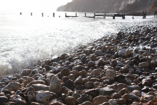 Waves on pebbles at Shanklin Chine