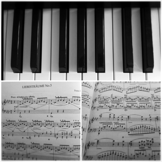 Piano and sheet music photo collage