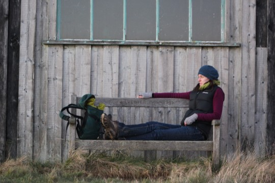 Bryony on a bench at Newtown