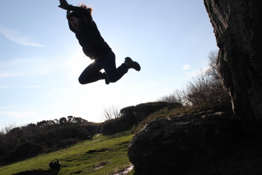 Jumping off the Longstone at Mottistone Down