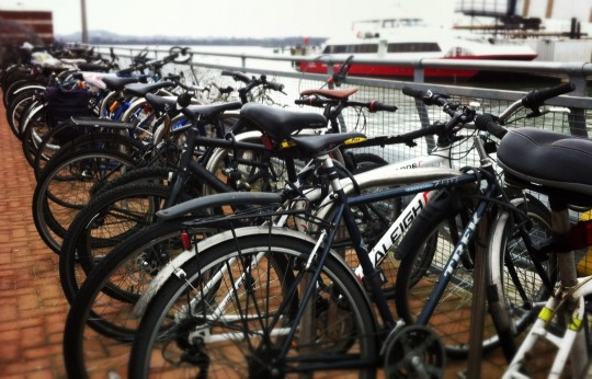 Bikes locked up at Red Jet ferry terminal