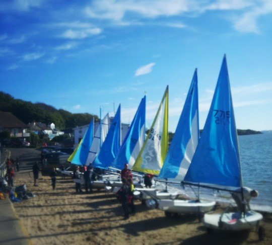 Dinghies at Gurnard Sailing Club Isle of Wight