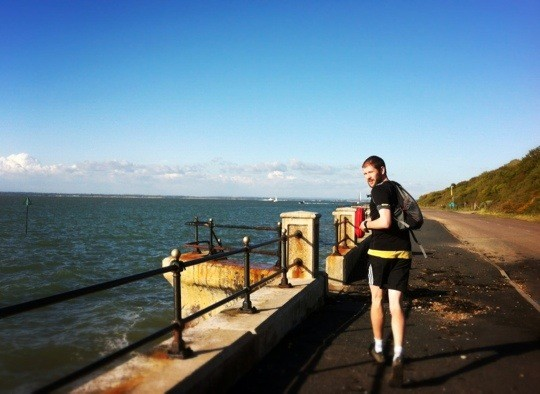 Tom running looking back