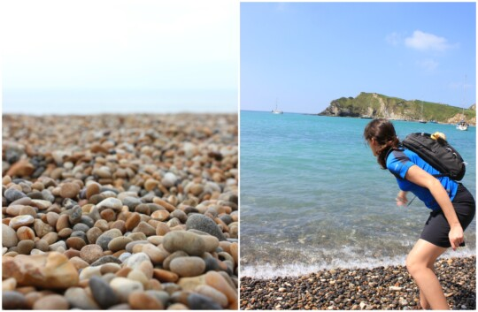 Pebbles close up and pebble skimming photo collage