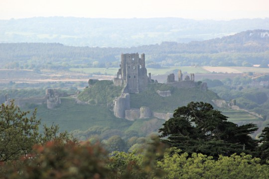 View of Corfe Castle from Kingstone