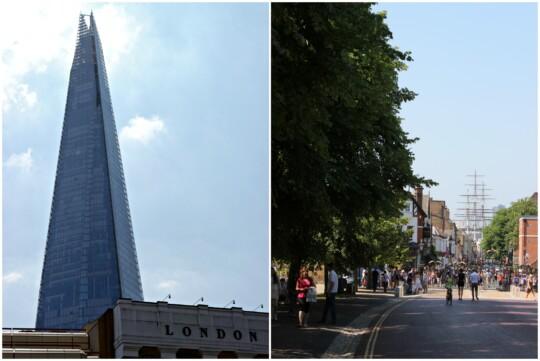 London Shard and Cutty Sark photo collage