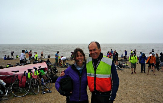 Bryony and Derek on the beach at the end of the Dunwich Dynamo