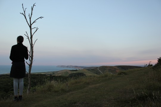 Bryony looking across at Purbeck