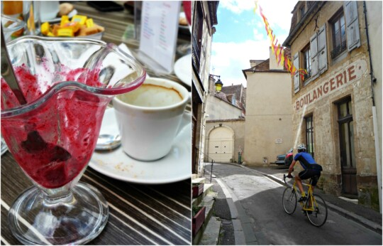 Sorbet, espresso, and boulangerie photo collage
