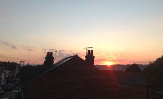 Sunset over rooftops in Cowes