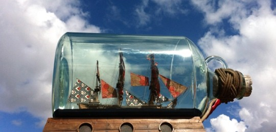 Ship in a bottle at Maritime Museum, Greenwich London