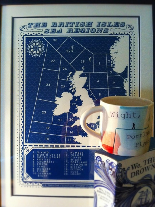 British Isles Sea Regions map framed next to a mug and book