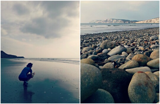 Bryony on the beach and pebbles photo collage