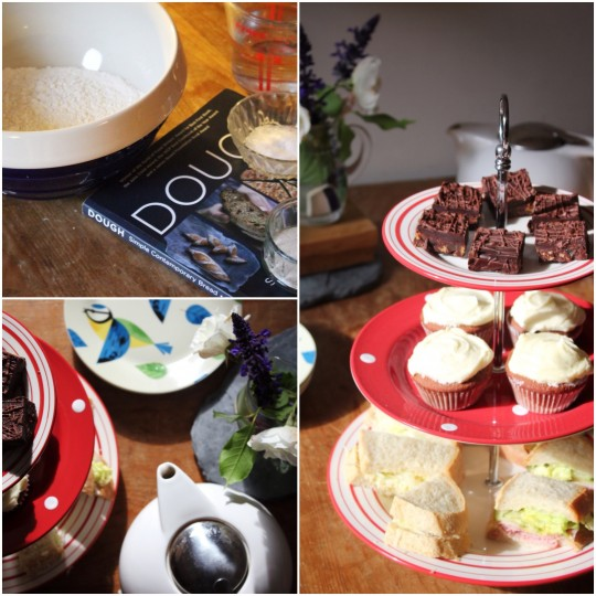 Dough recipe book, tiered cake plate and tea photo collage