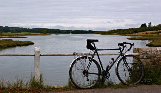 Dawes bike against a fence at Newtown Creek, Isle of Wight