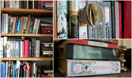 Book shelves and book stacks photo collage