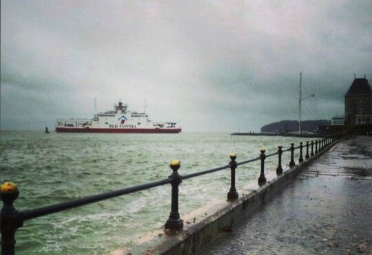 Red Funnel car ferry photographed from Royal Yacht Squadron, Cowes Isle of Wight