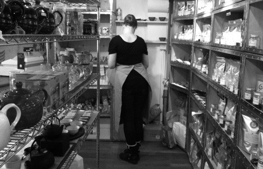 Winchester tea shop in black and white