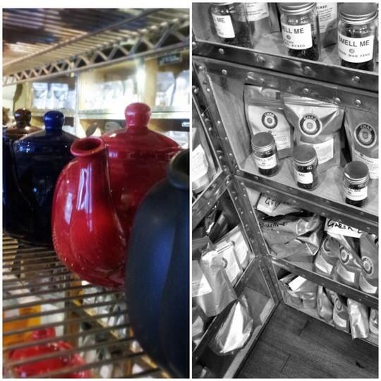 Tea pots and shelves photo collage