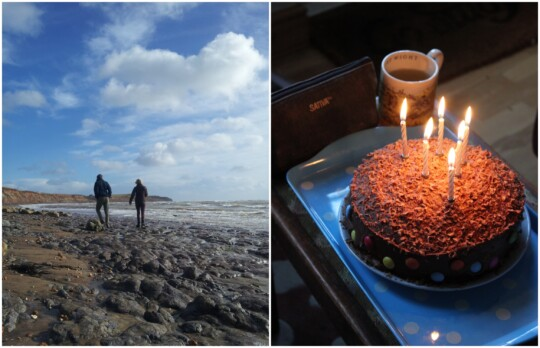 Alec and Wendy on the beach and birthday cake photo collage