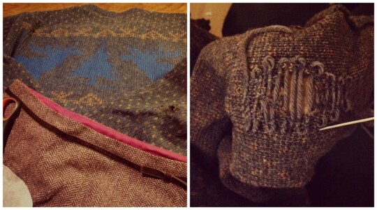 Worn woolly jumper and darning