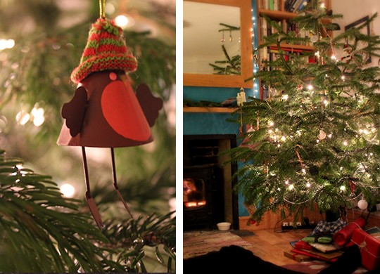 Log fire, christmas tree, and robin tree decoration photo collage