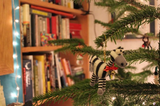 Zebra decoration on Christmas tree