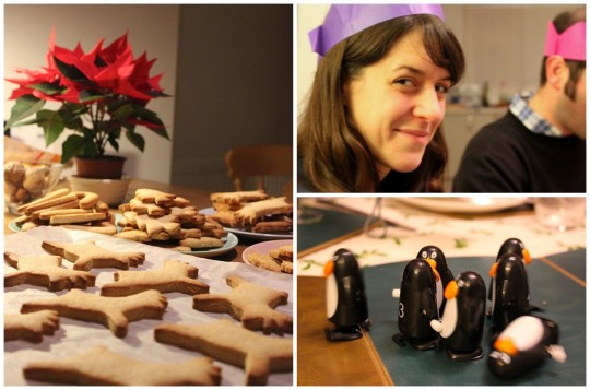 Holiday photo collage showing gingerbread, plastic penguins and Bryony