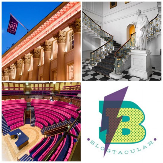 Blogtacular event building, hall, theatre and logo photo collage