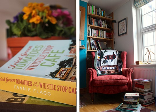 Fried Green Tomatoes and reading chair photo collage