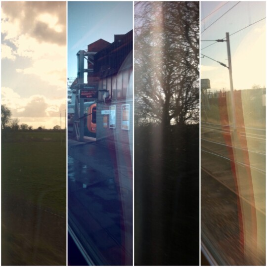 Photo collage of train travel