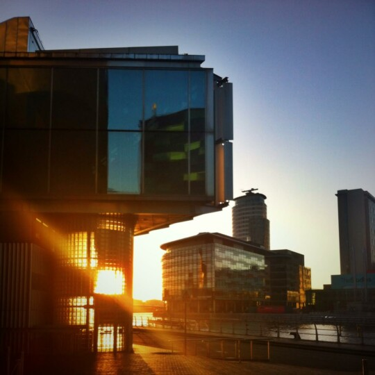 Sunset view across to BBC MediaCityUK