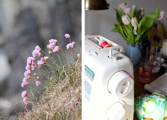 Flowers and sewing machine photo collage