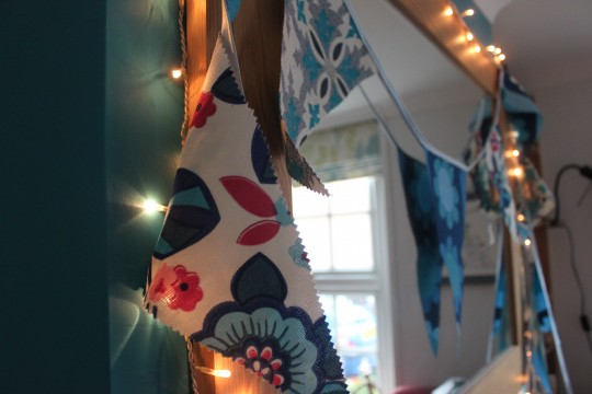 Home made bunting hanging up