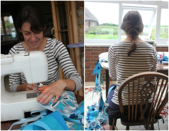 Sitting at the sewing machine: front and back photo collage