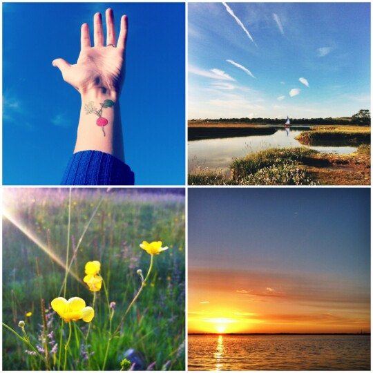 Hand, boat, buttercup and sunset photo collage