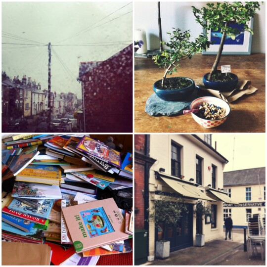 Thunder, bonsai, books and coffee photo collage