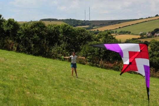 Rusty landing a kite