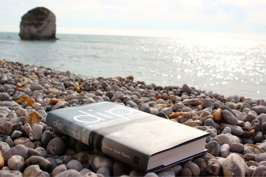 """Book """"Dip"""" by Fusek Peters on the beach at Freshwater Bay, Isle of Wight"""