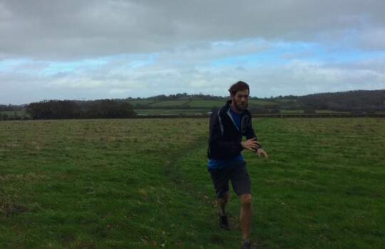 Tom running at Bembridge Common