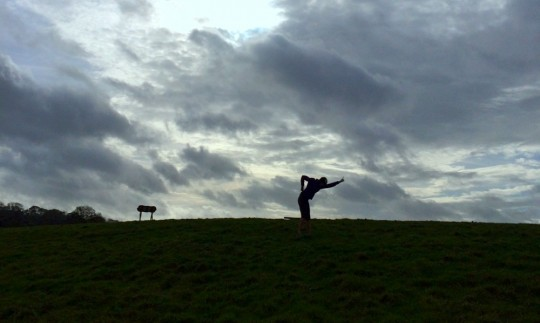 Silhouette of Rusty on the hill top