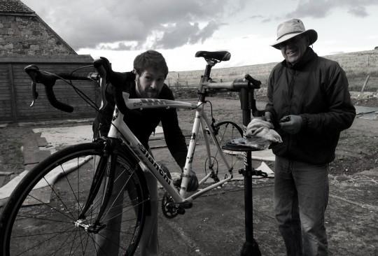 Tom and Derek working on bicycle