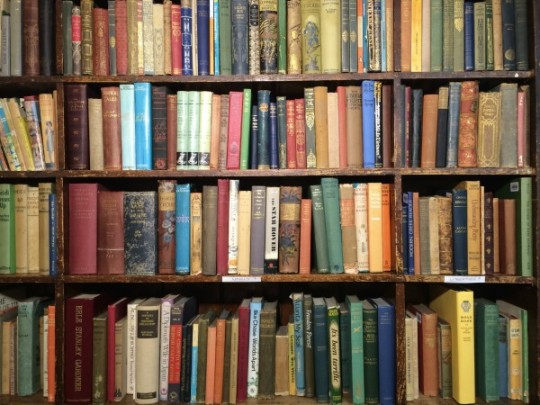 Old books on shelves