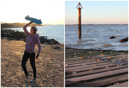 Rusty holding her penny board and slipway photo collage
